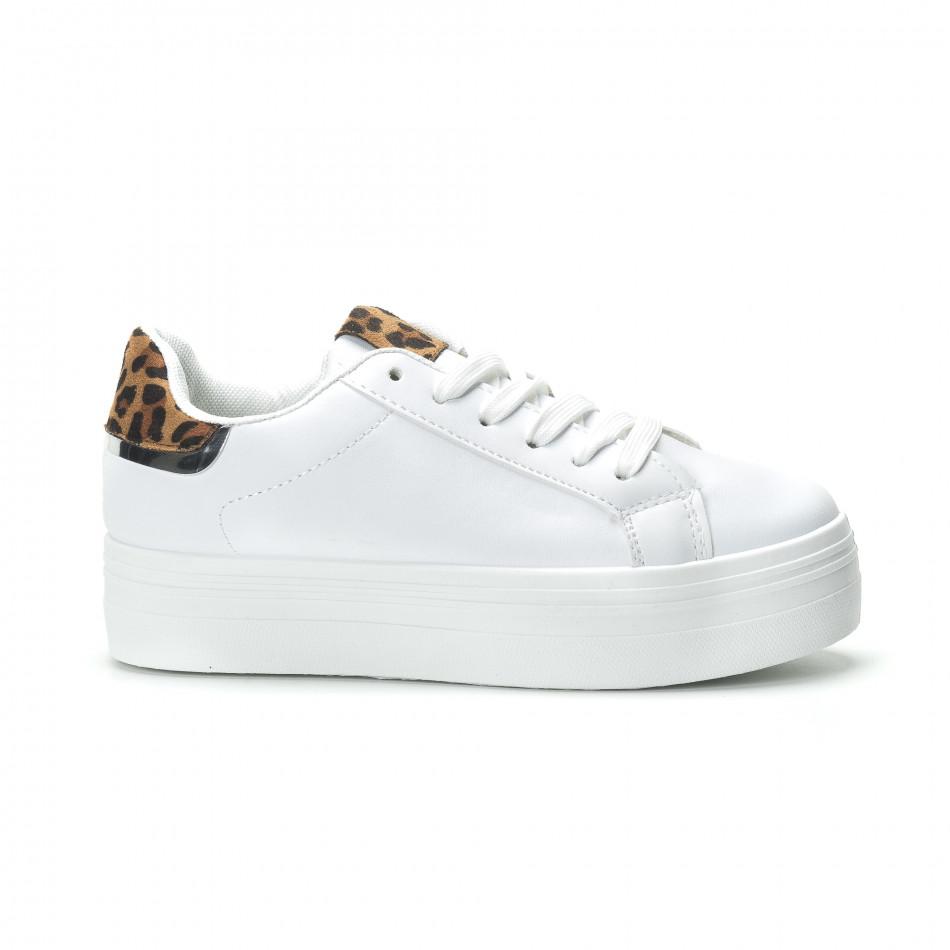 Γυναικεία λευκά sneakers με πλατφόρμα και διακοσμητικό πριντ 9a3a15d6866