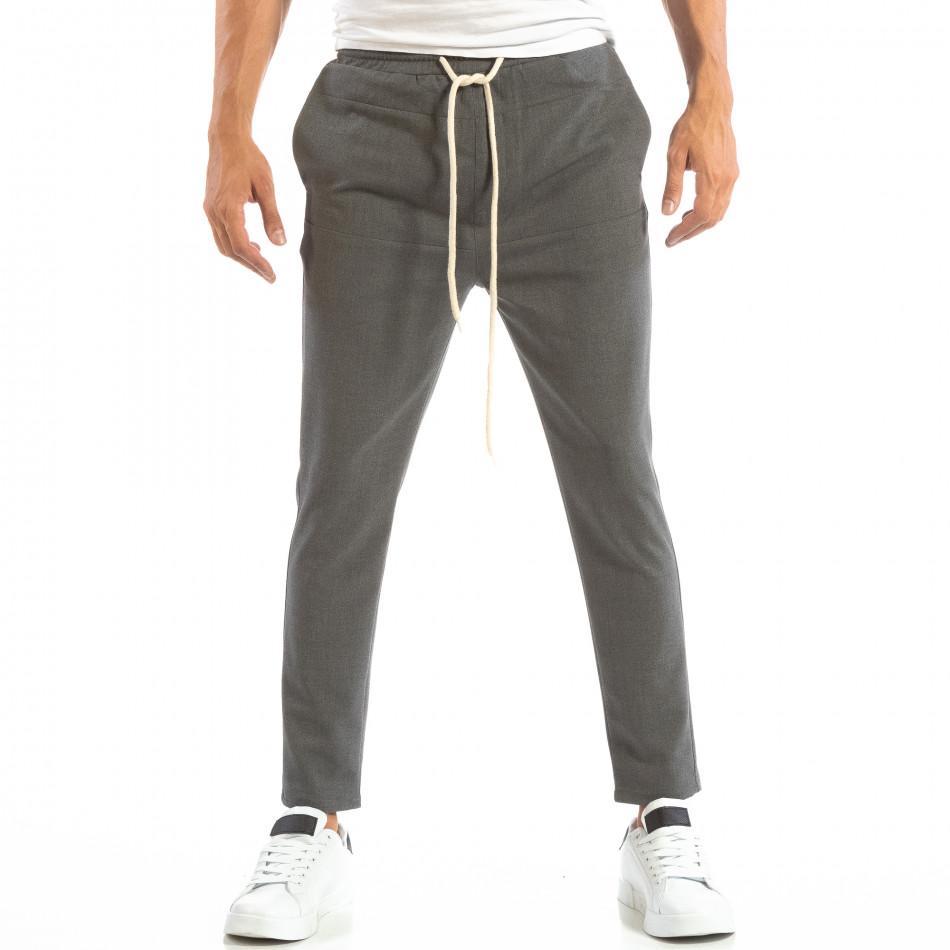 Ανδρικό σκούρο γκρι παντελόνι τύπου Jogger