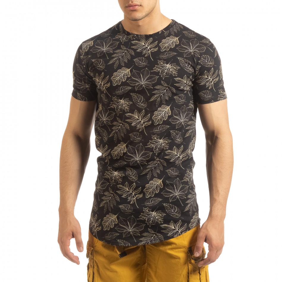 3454226bd029 Ανδρική μαύρη κοντομάνικη μπλούζα Leaves σχέδιο