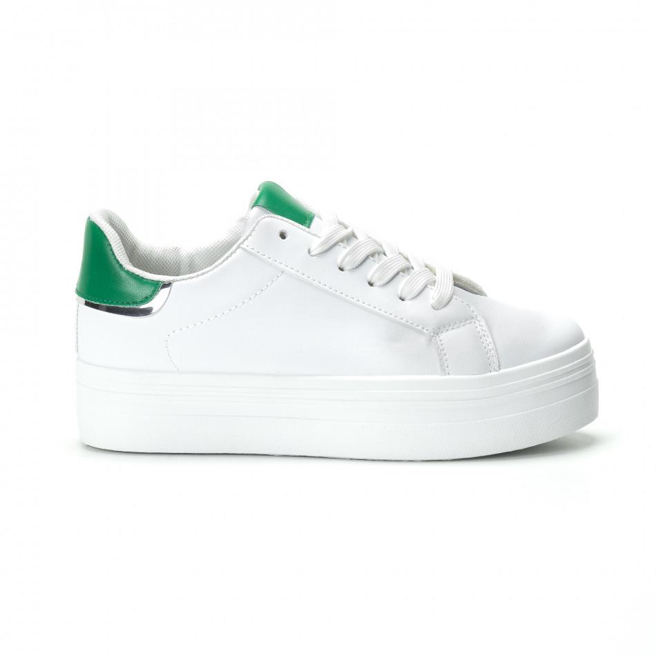 Γυναικεία λευκά sneakers με πλατφόρμα και πράσινη λεπτομέρεια