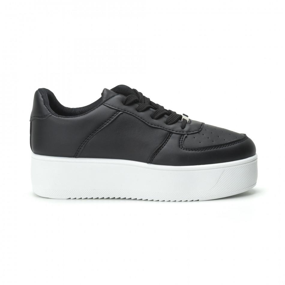Basic γυναικεία μαύρα sneakers με πλατφόρμα 124c0cf3a21
