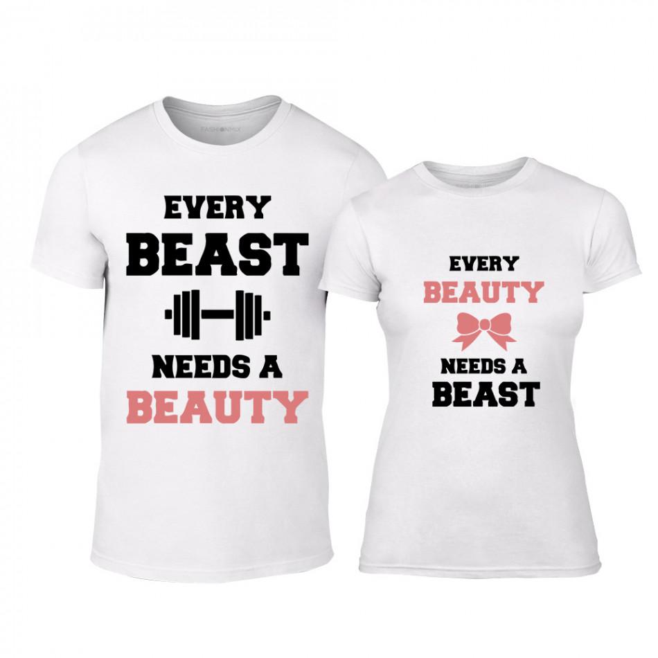 Μπλουζες για ζευγάρια Beauty Beast λευκό b3ca2eaeafa