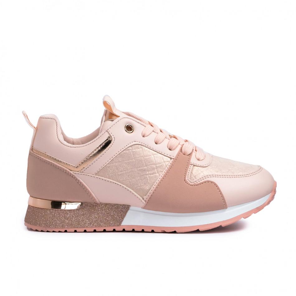 Γυναικεία ροζ sneakers με λεπτομέρεια glitter