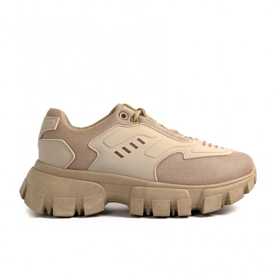 Γυναικεία sneakers μονόχρωμα σε χακι