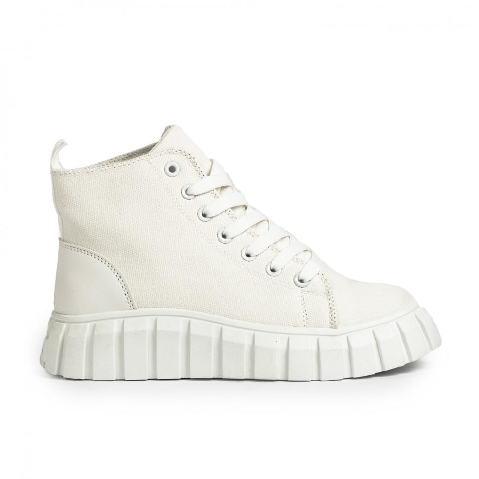 Γυναικεία λευκά ψηλά sneakers