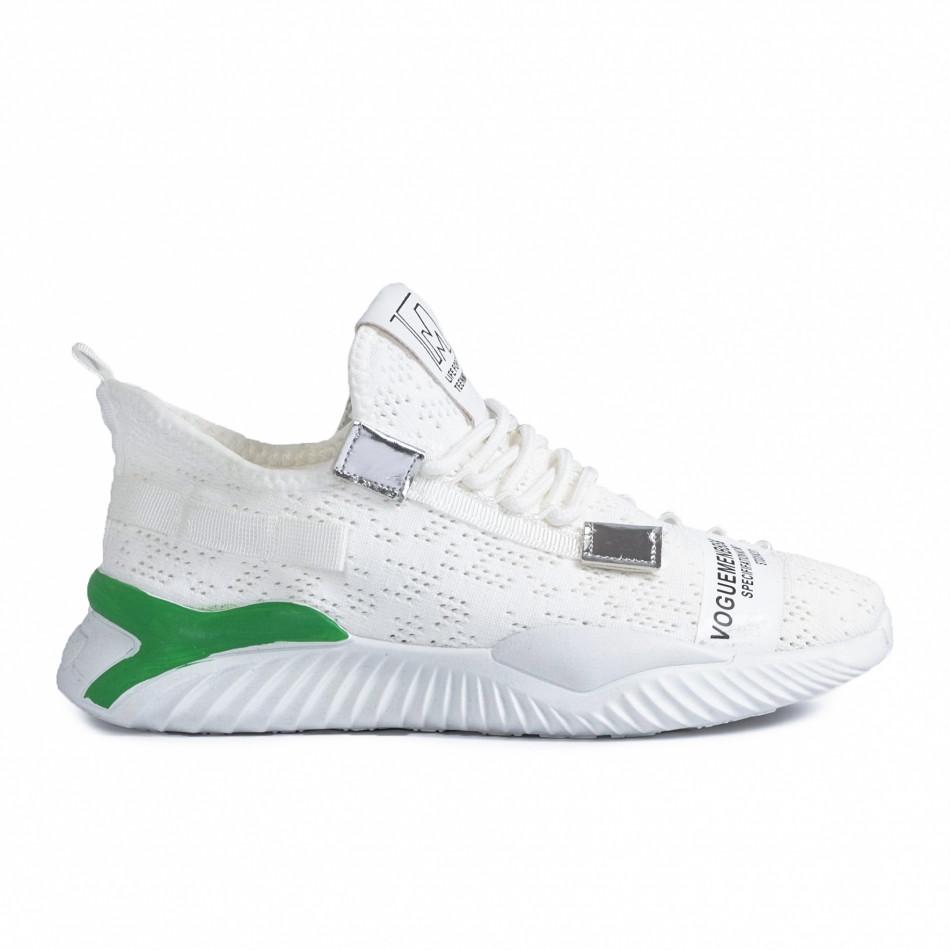 Ανδρικά λευκά sneakers με πρασινή λεπτομέρεια