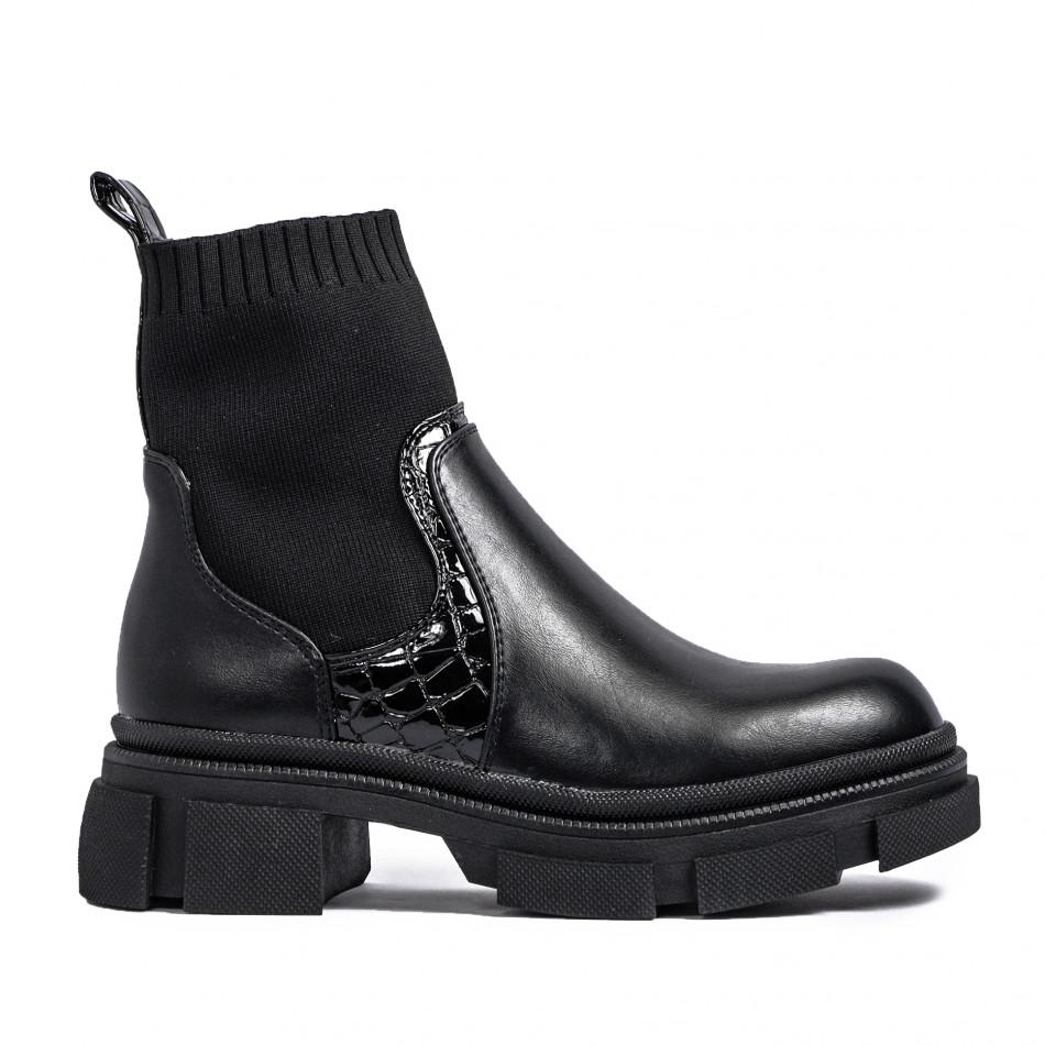 Γυναικεία μαύρα μποτάκια τύπου κάλτσα