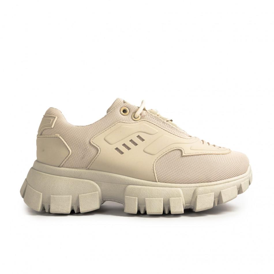 Γυναικεία sneakers μονόχρωμα σε μπεζ