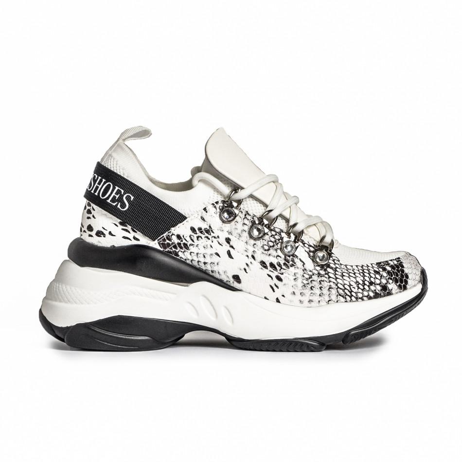 Γυναικεία λευκά αθλητικά παπούτσια Snake