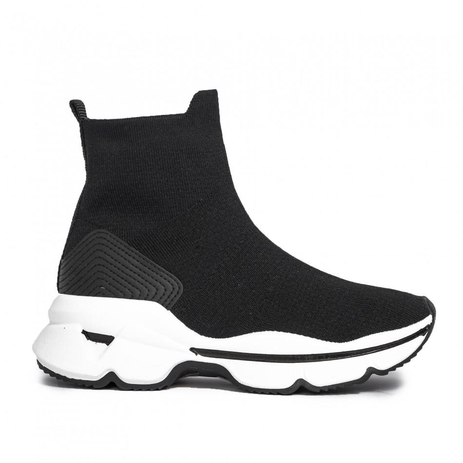 Γυναικεία μαύρα αθλητικά παπούτσια τύπου κάλτσα
