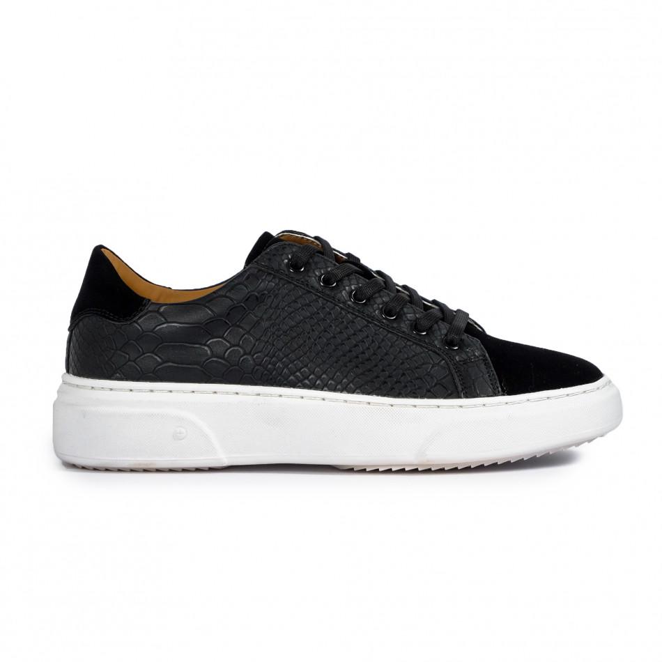 Ανδρικά μαύρα sneakers με Shagreen design