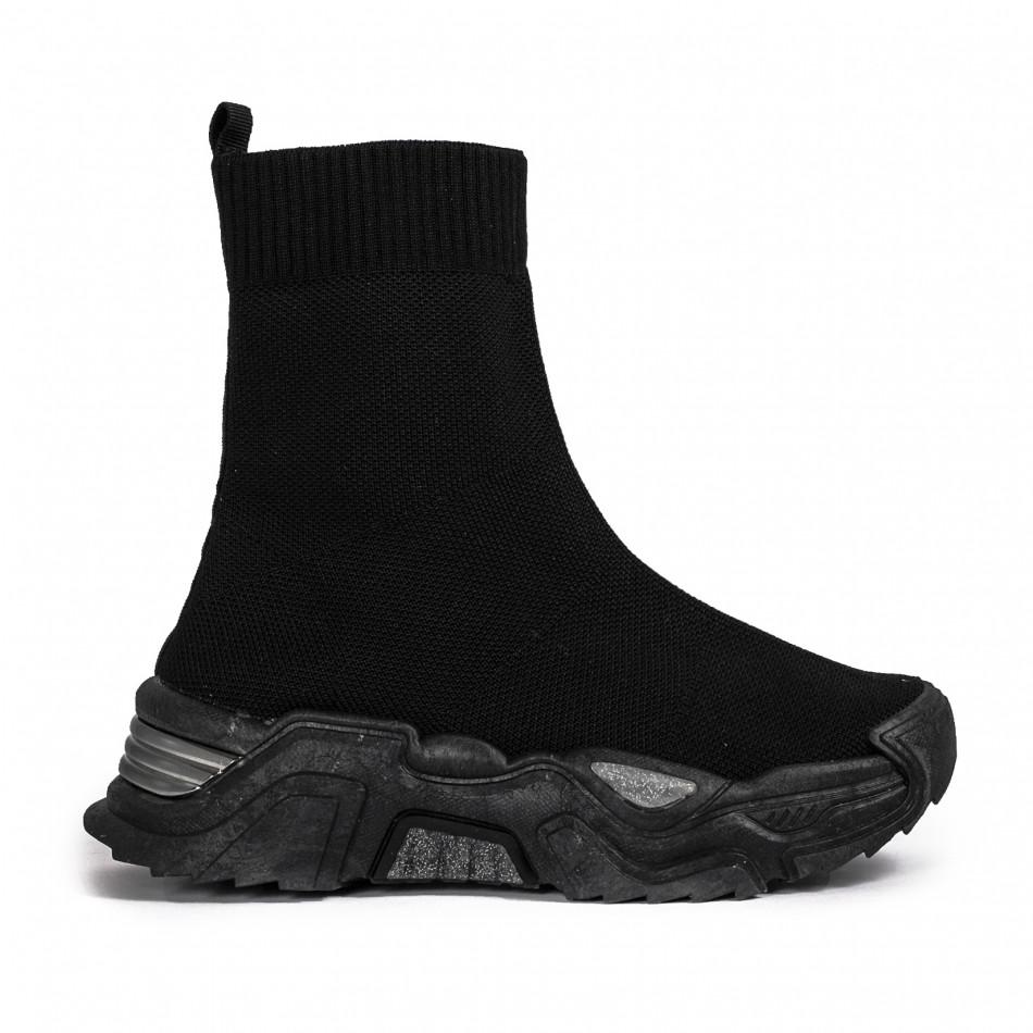 Γυναικεία μαύρα ψηλά sneakers κάλτσα