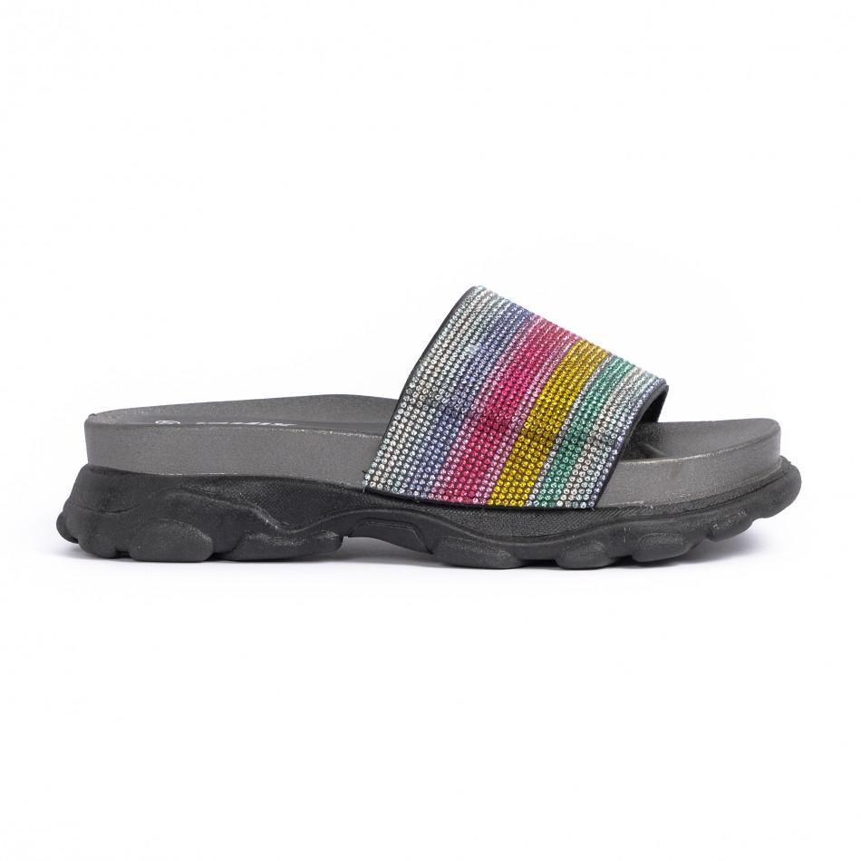Γυναικείες σαγιονάρες Rainbow Chunky μαύρο
