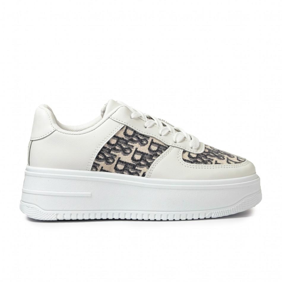 Γυναικεία λευκά sneakers με πλατφορμα