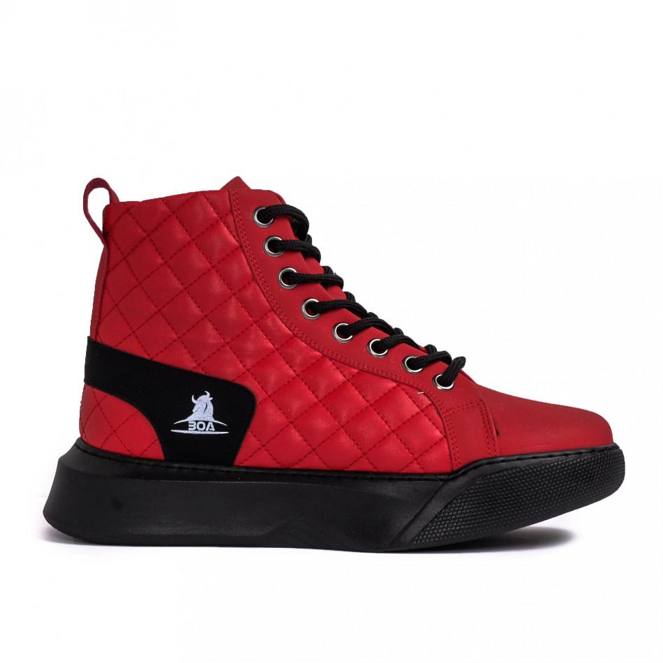 Ανδρικά κόκκινα ψηλά sneakers με καπιτονέ