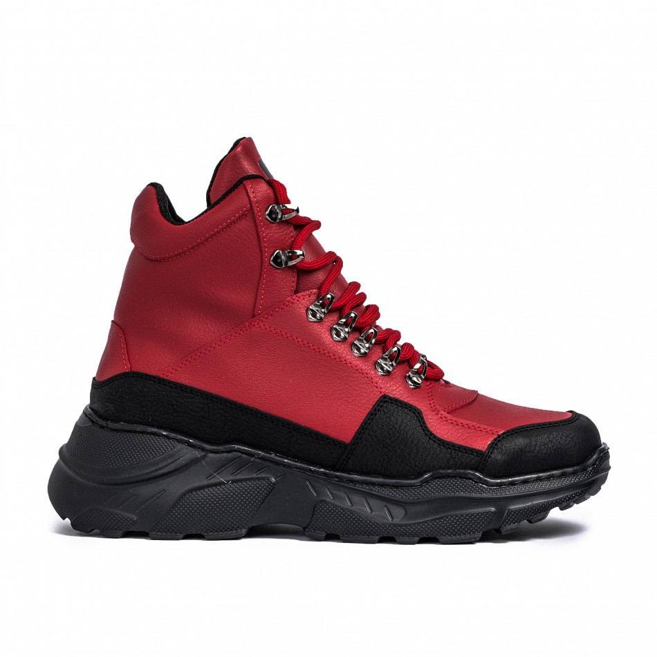Ανδρικά κόκκινα sneakers Trekking design