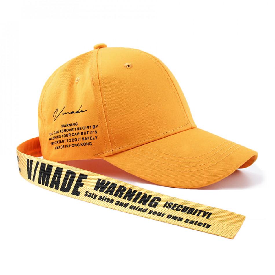 Ανδρικό κίτρινο καπέλα μπέιζμπολ με λεπτομέρεια