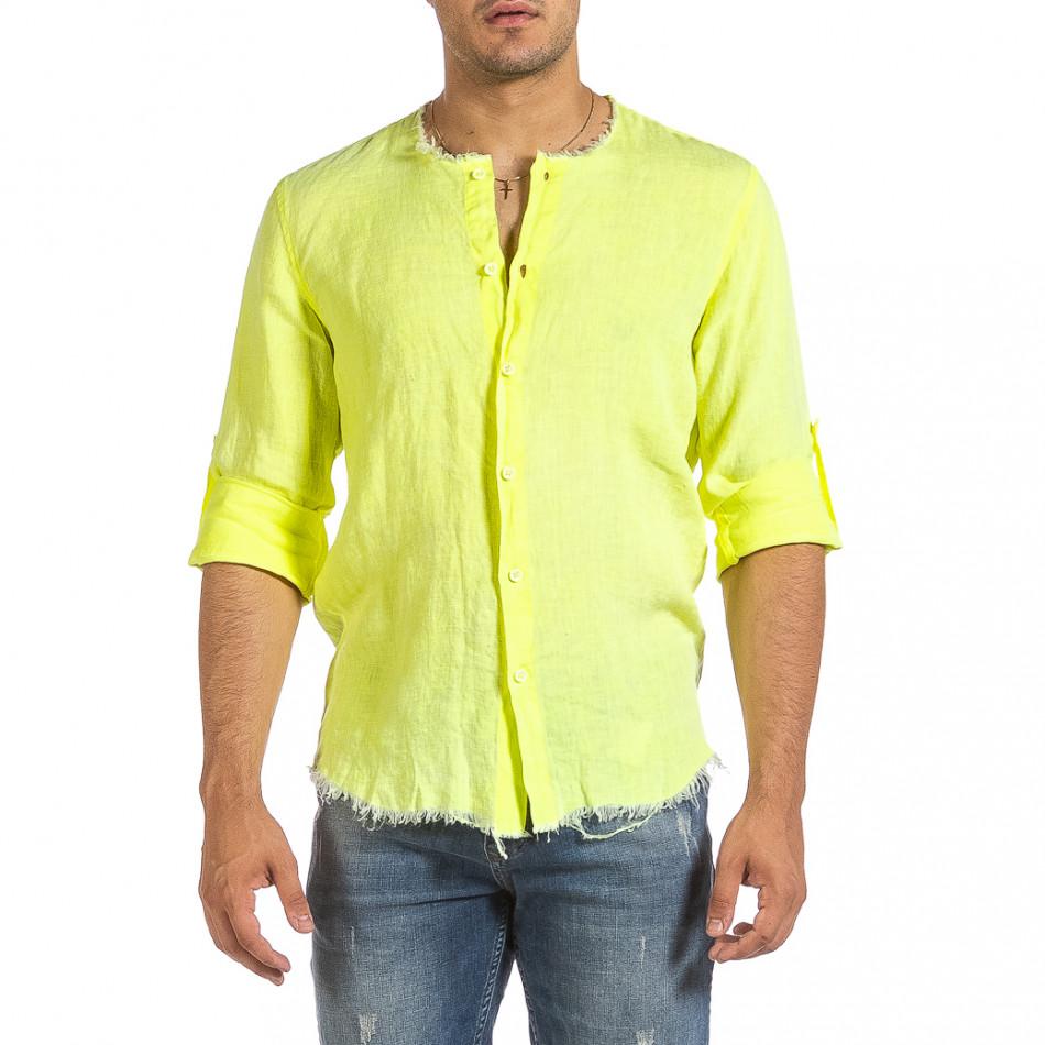 Ανδρικό κίτρινο λινό πουκάμισο Duca Fashion