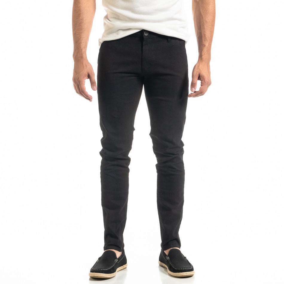 Ανδρικό μαύρο παντελόνι Slim fit Chino