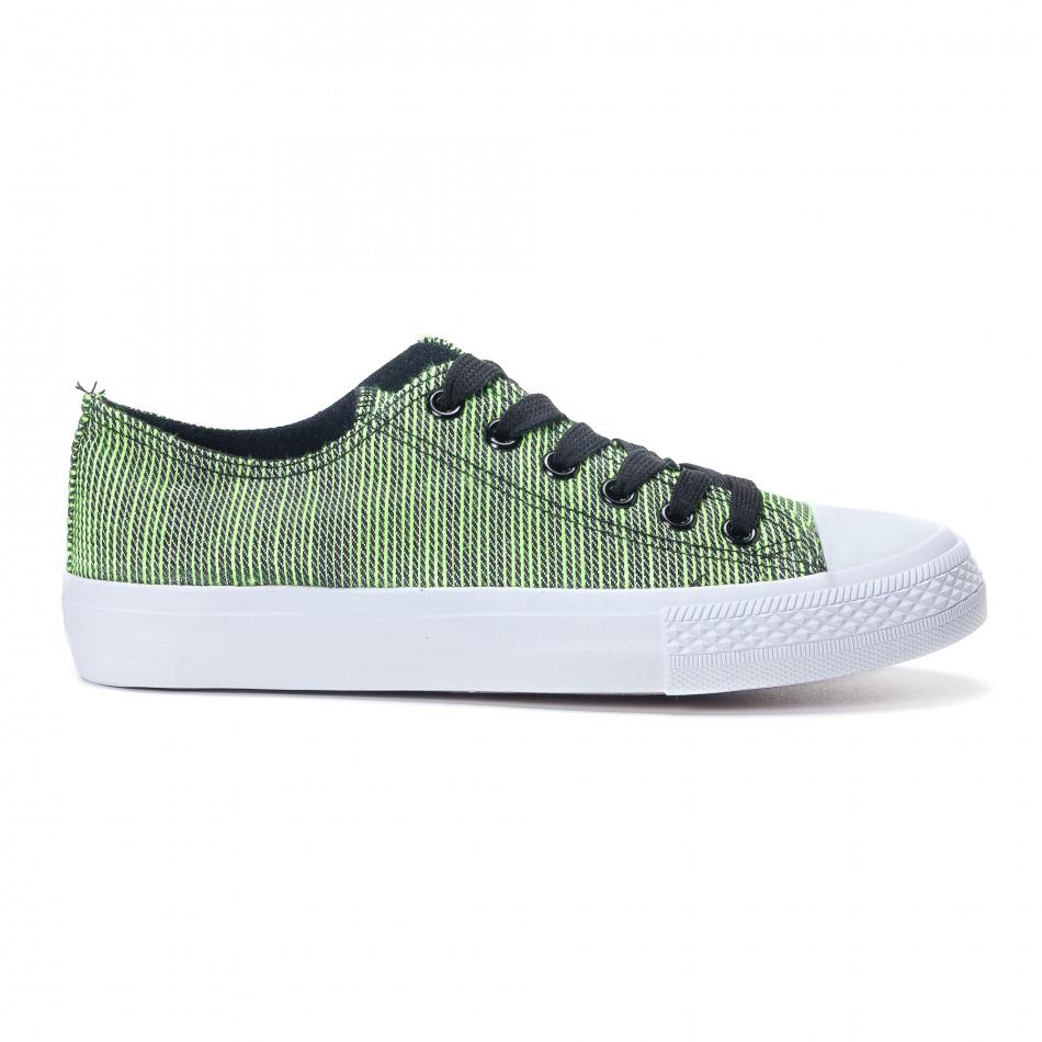 Γυναικεία υφασμάτινα sneakers με πράσινες και μαύρες ρίγες