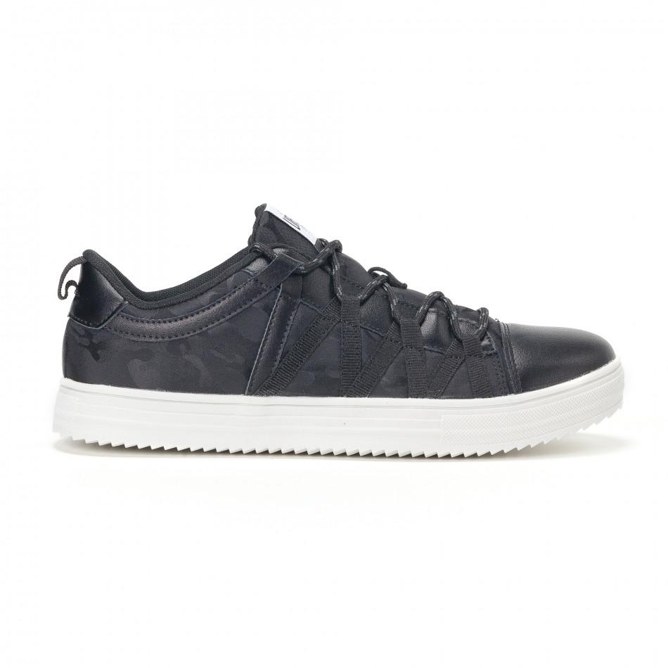Ανδρικά μαύρα sneakers παραλλαγής με κορδόνια