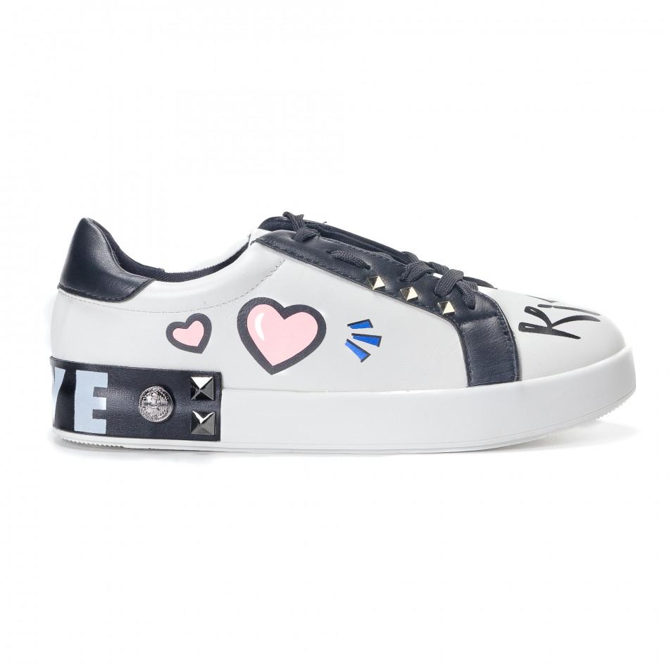 Γυναικεία λευκά sneakers από οικολογικό δέρμα με σχέδια και μαύρες  λεπτομέρειες a5a7f11b62a