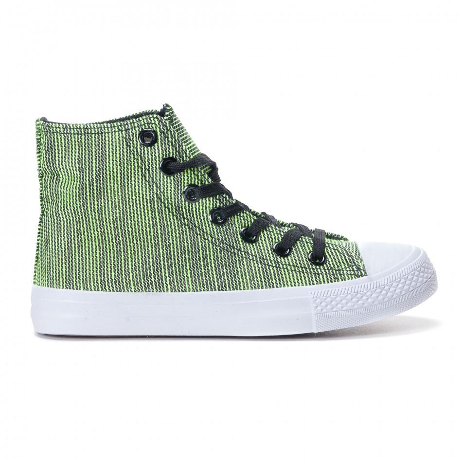 Ψηλά γυναικεία υφασμάτινα sneakers με πράσινες και μαύρες ρίγες