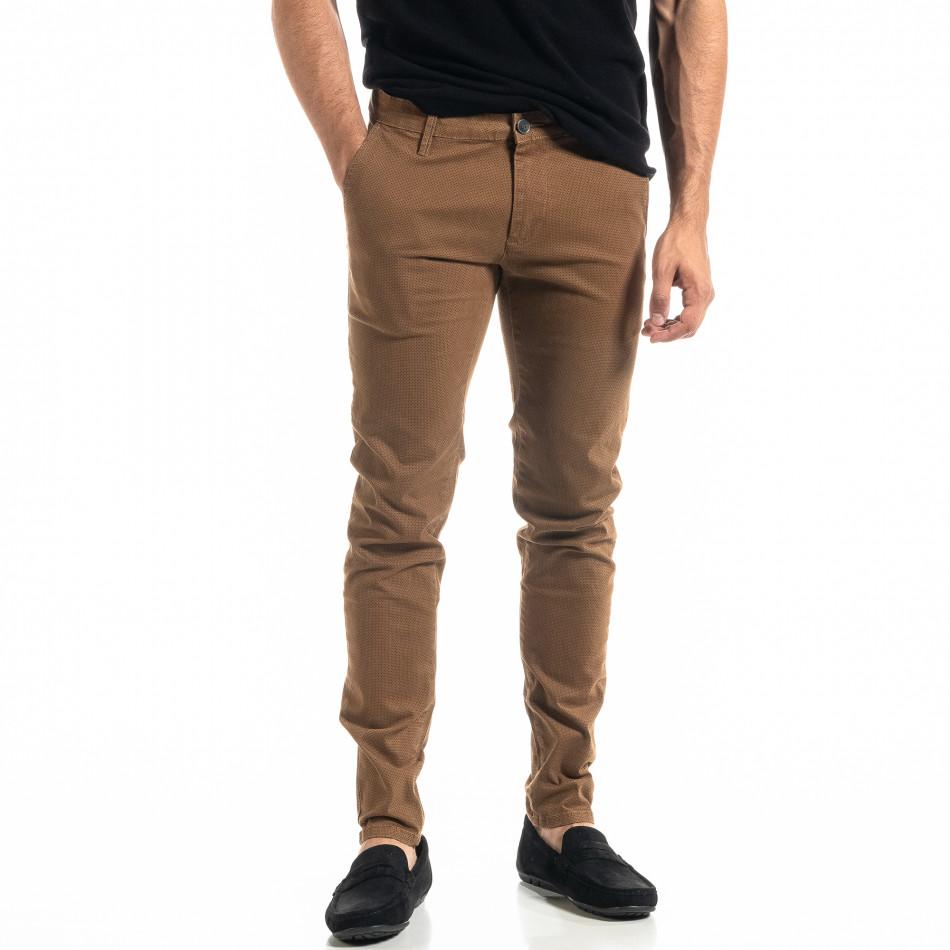 Ανδρικό camel παντελόνι Slim fit Chino