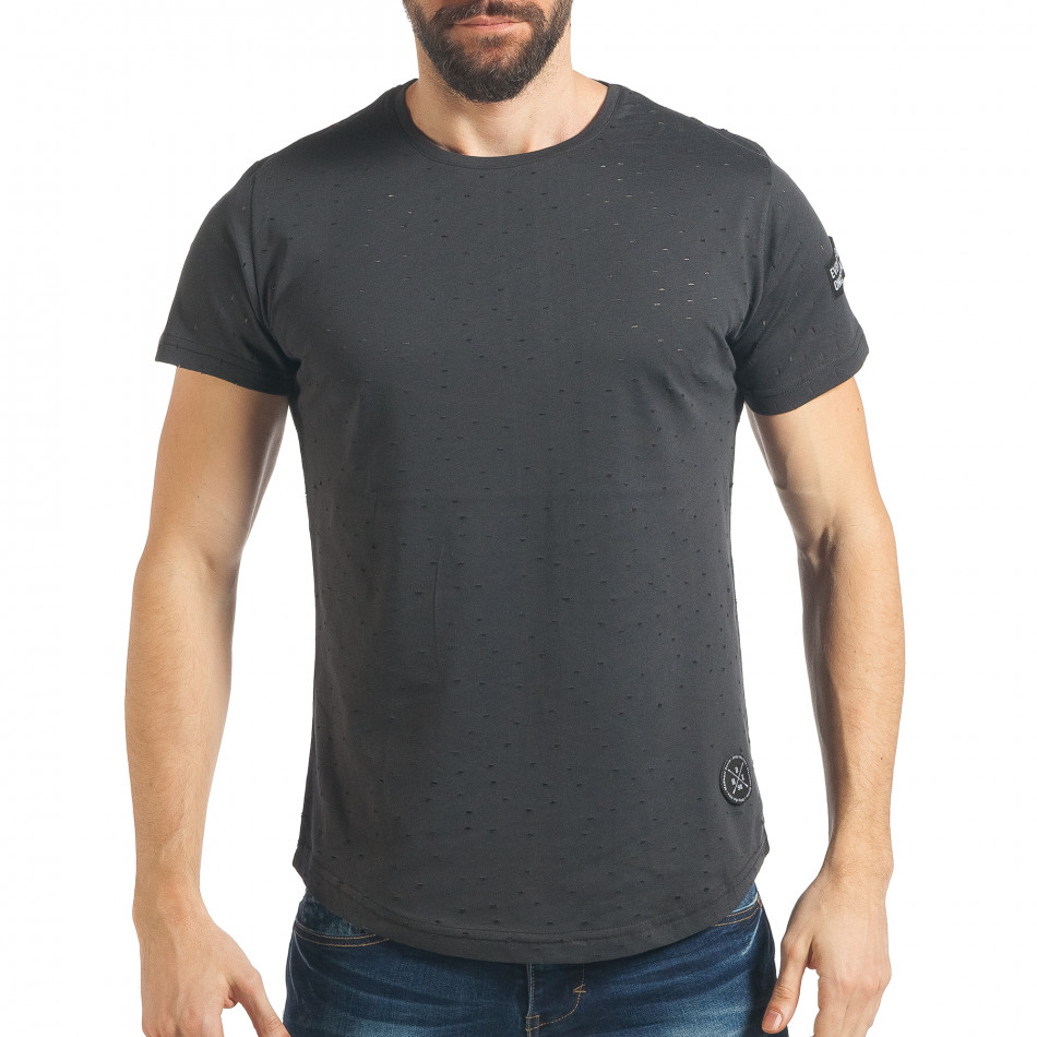ced552c13734 Ανδρική γκρι κοντομάνικη μπλούζα Madmext