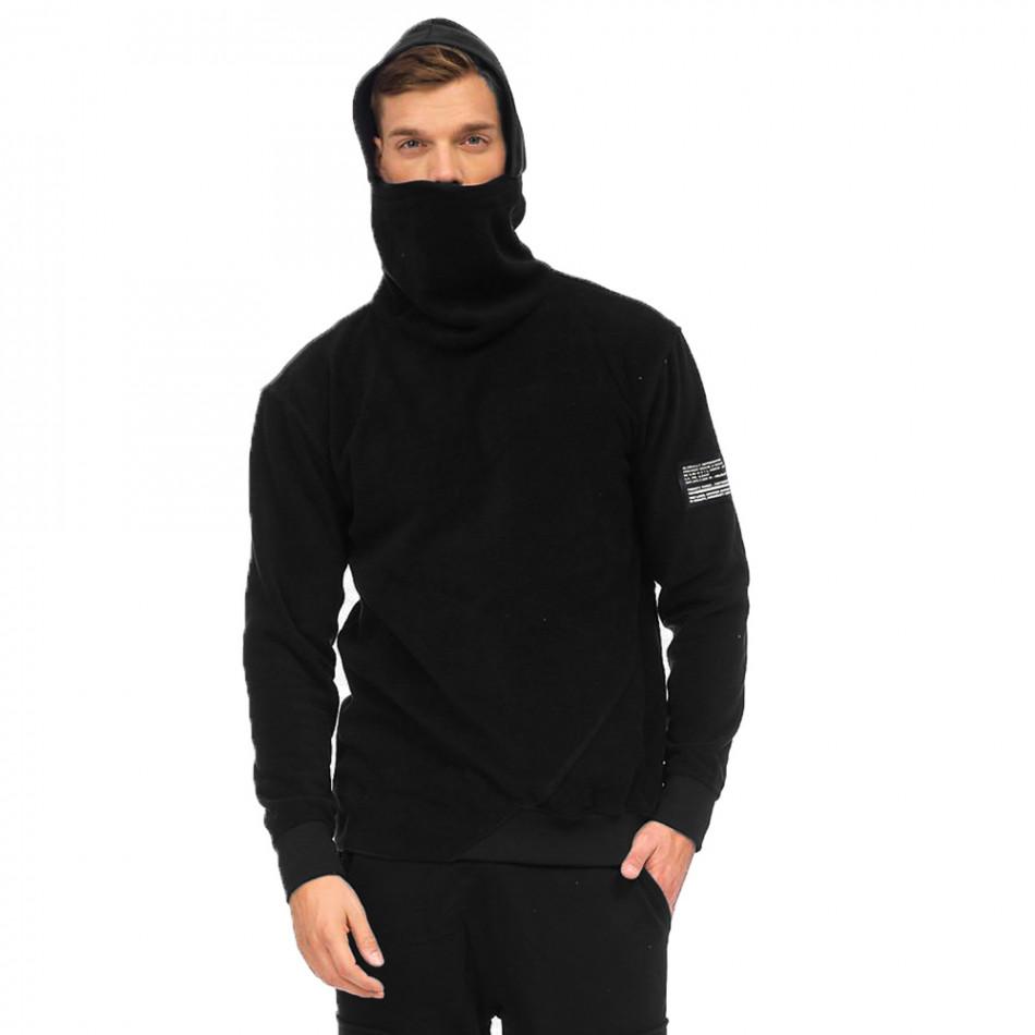 Ανδρικό μαύρο φούτερ με κουκούλα