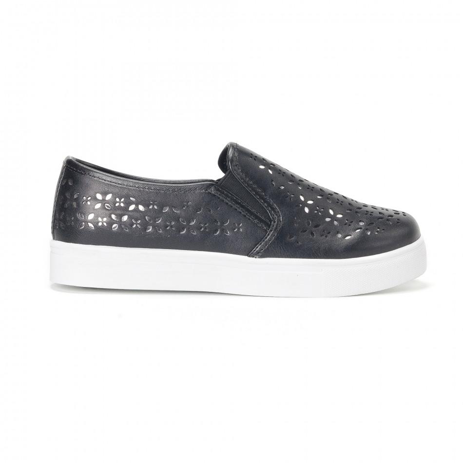 1b979ef7646 Fashionmix Γυναικεία μαύρα sneakers slip-on με διακοσμητικά σχέδια