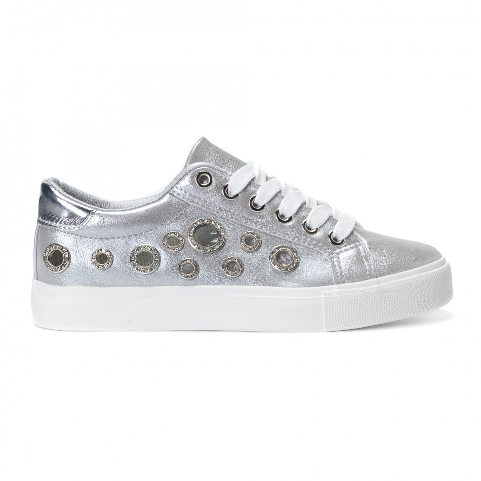 Γυναικεία γκρι sneakers από οικολογικό δέρμα με διακοσμητικές πέτρες 1d9c38b02b8