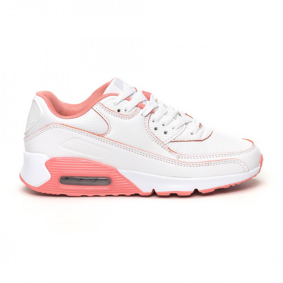 Γυναικεία λευκά-ροζ αθλητικά παπούτσια με αερόσολα