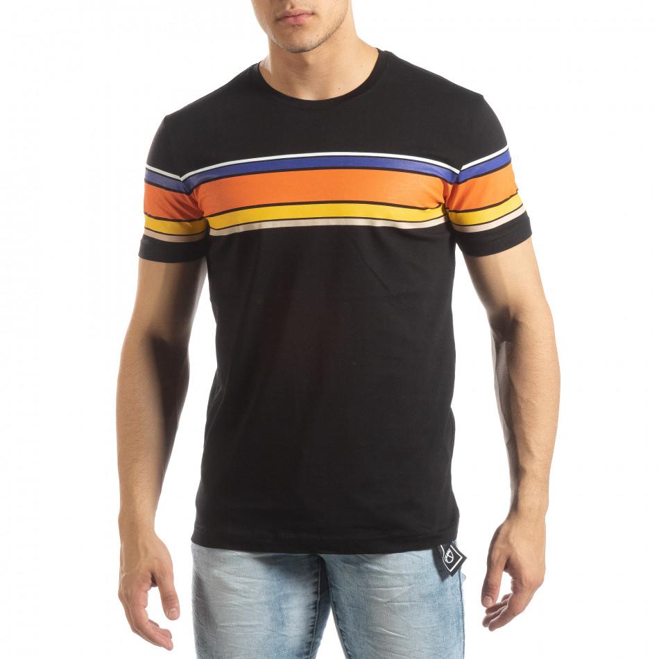 6d4d85cfc776 Ανδρική μαύρη κοντομάνικη μπλούζα με πολύχρωμες ρίγες
