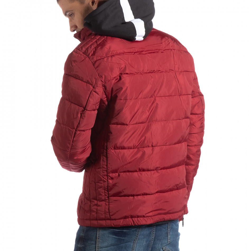 d83cc83ceb32 Ανδρικό κόκκινο χειμωνιάτικο μπουφάν με επένδυση και γιακά μοα
