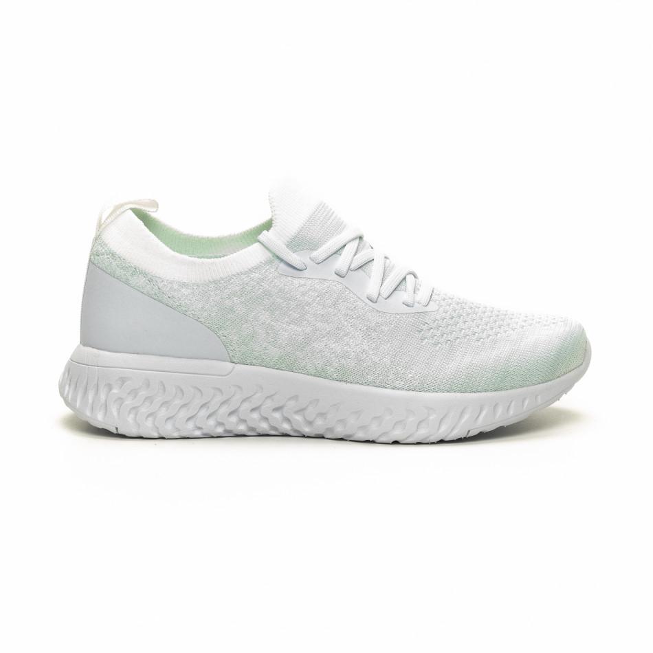 Γυναικεία λευκά αθλητικά παπούτσια καλτσάκι ελαφρύ μοντέλο
