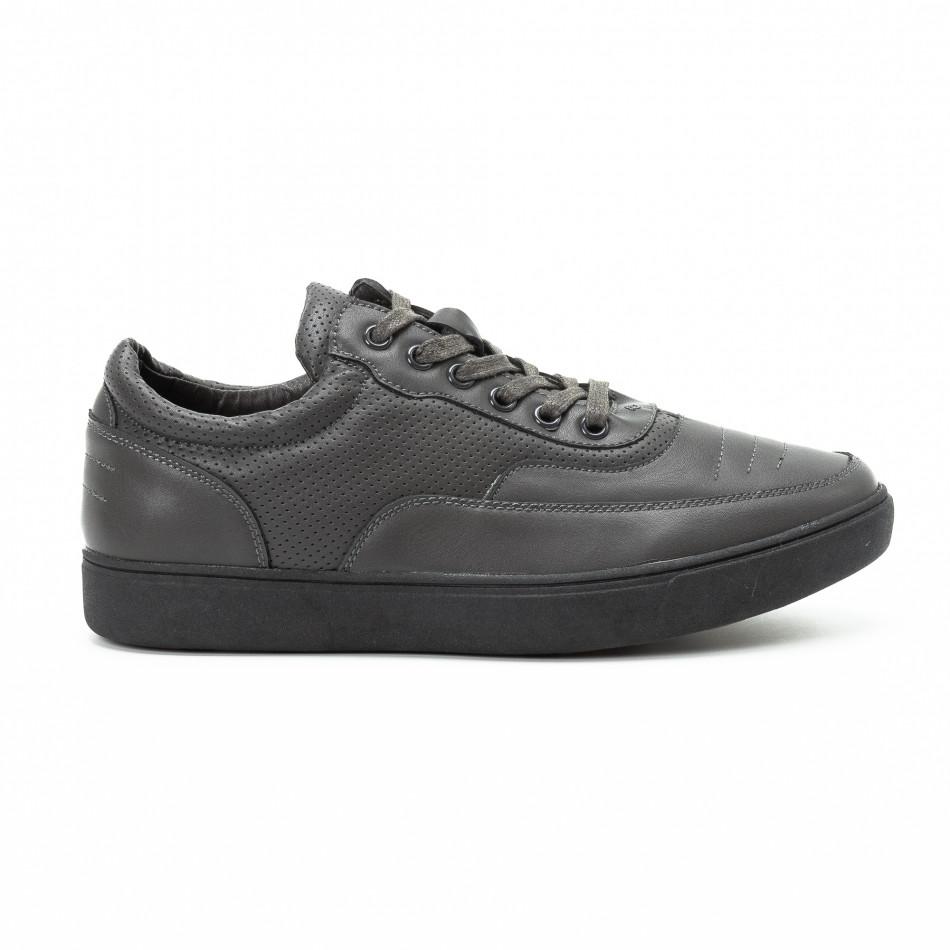 Ανδρικά γκρι sneakers με διακοσμητικές τρύπες 823979ac4ec