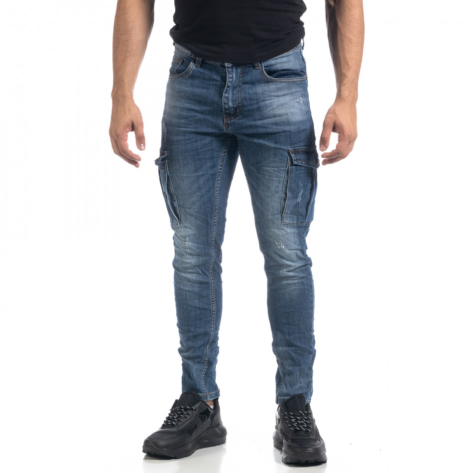 Ανδρικό μπλε τσαλακωμένο Cargo jean Slim fit