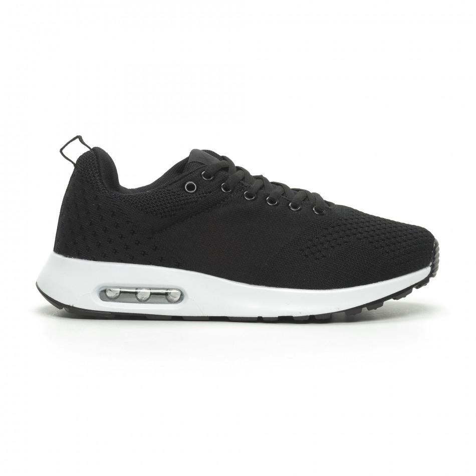 a8371c81ac1 Ανδρικά μαύρα πλεκτά αθλητικά παπούτσια με αερόσολα