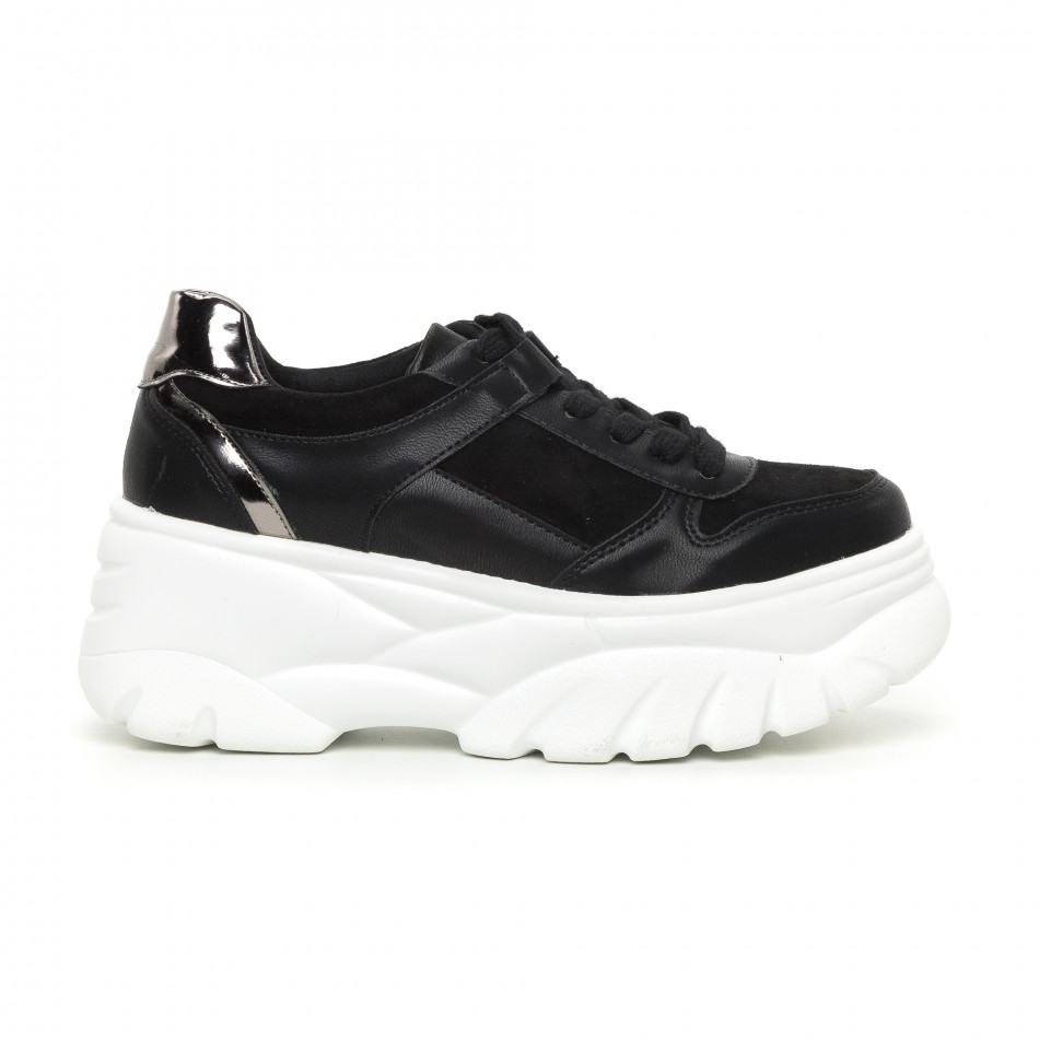 Γυναικεία Chunky αθλητικά παπούτσια μαύρα με πλατφόρμα