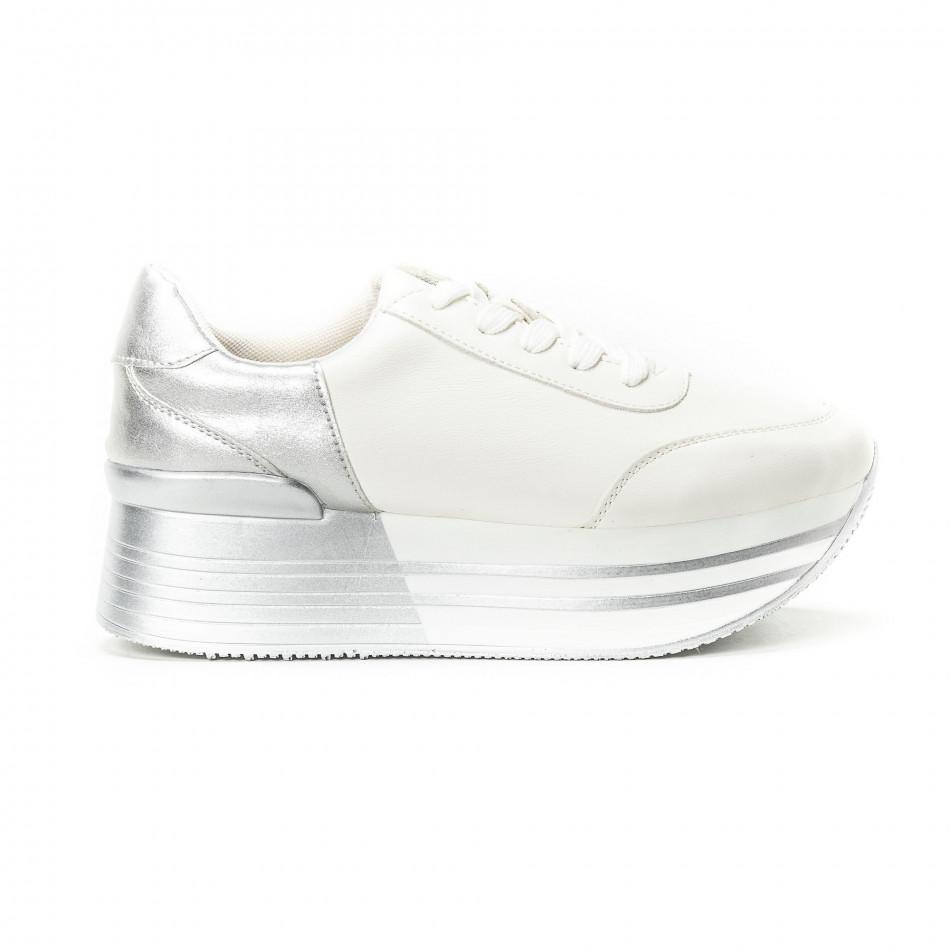 Γυναικεία λευκά sneakers με πλατφόρμα και ασημί λεπτομέρειες 05f73323532