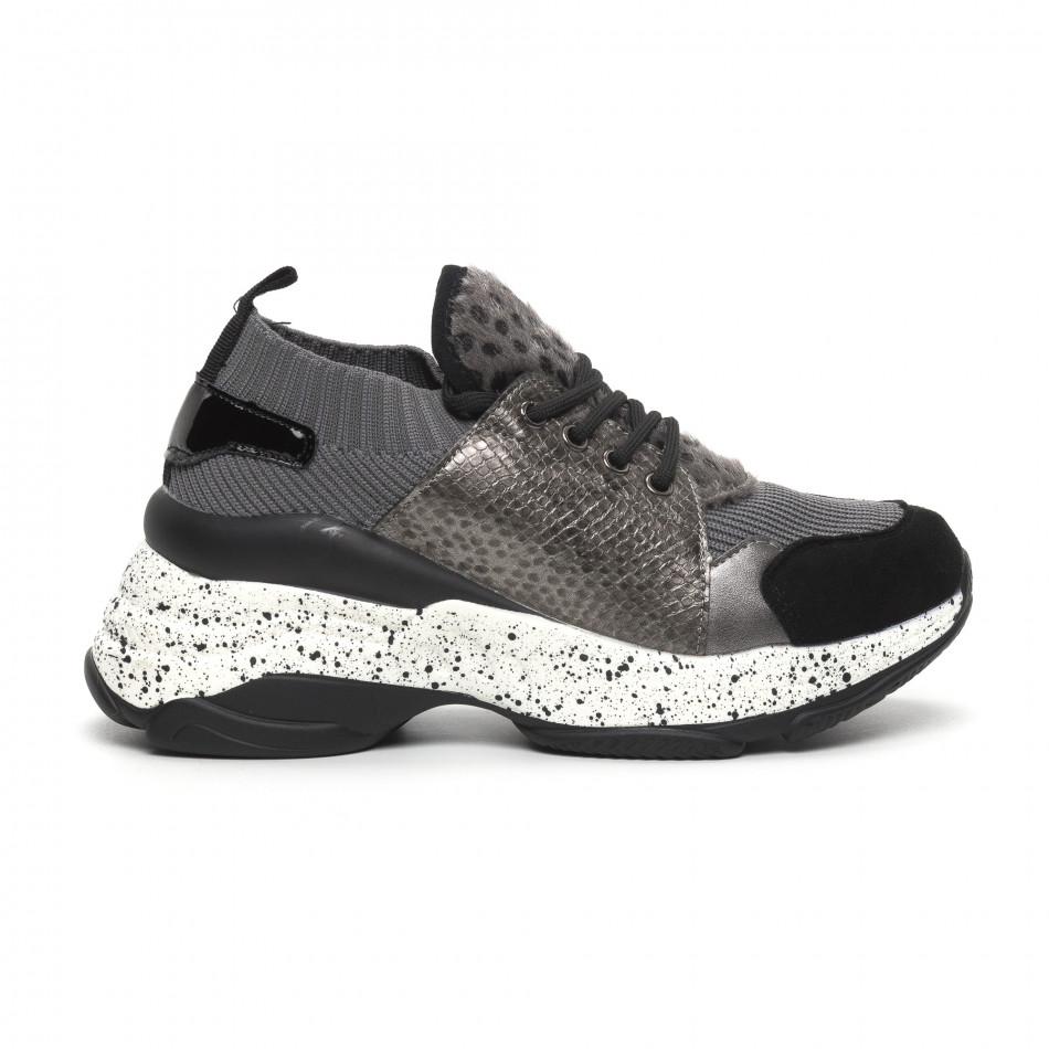 Γυναικεία γκρι αθλητικά παπούτσια Patchwork design