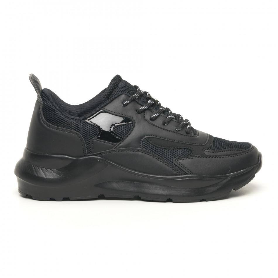 Ανδρικά μαύρα αθλητικά παπούτσια με λουστρίνι ελαφρύ μοντέλο