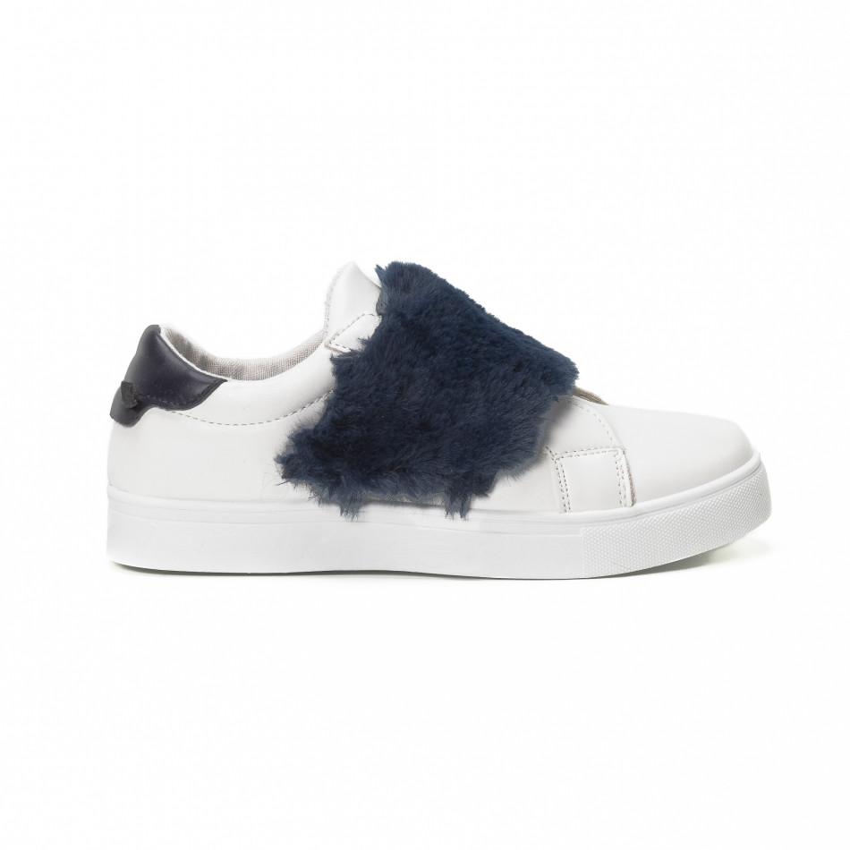 Γυναικεία λευκά Slip-on sneakers με μπλε λεπτομέρειες