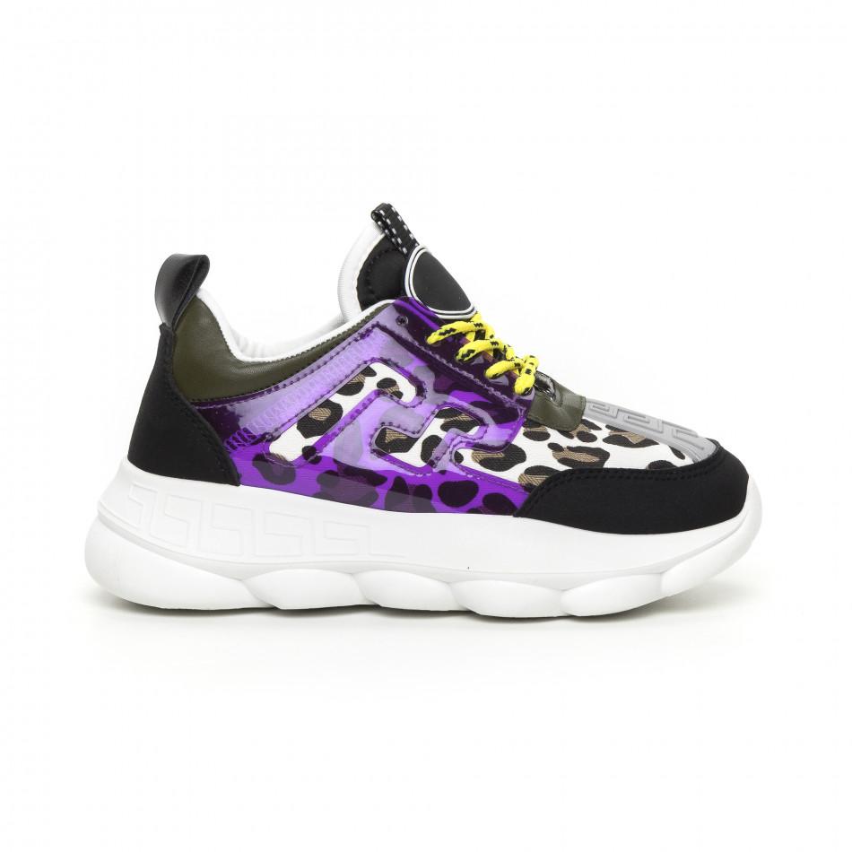 Γυναικεία μαύρα αθλητικά παπούτσια με λεπτομέρειες Mix