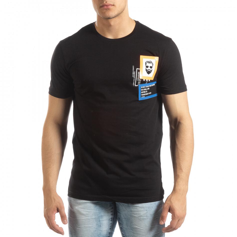 faa3c5b276ed Ανδρική μαύρη κοντομάνικη μπλούζα με διακοσμητικά απλικέ
