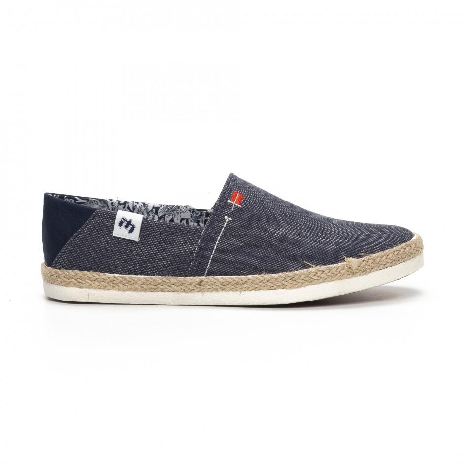 Ανδρικά γαλάζια Slip-on sneakers τύπου εσπαντρίγιες