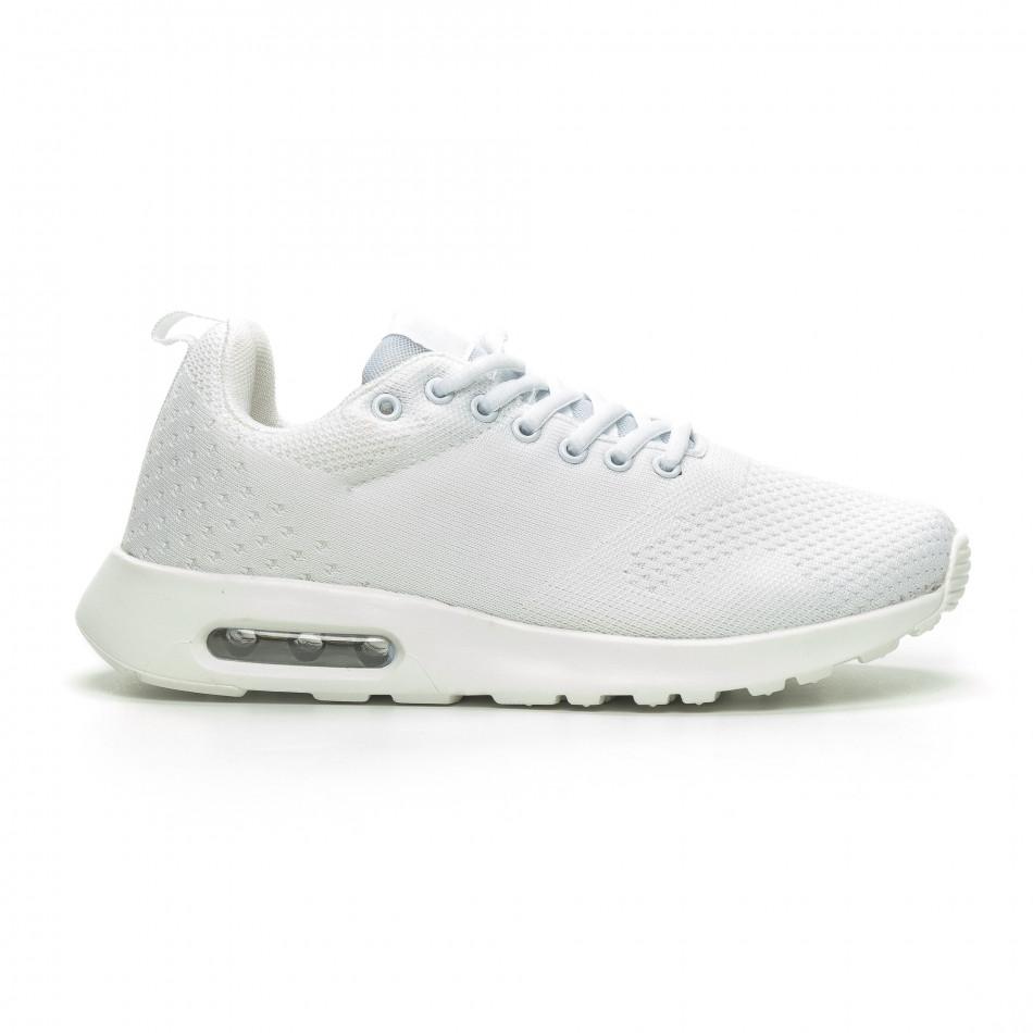 Ανδρικά λευκά πλεκτά αθλητικά παπούτσια με αερόσολα