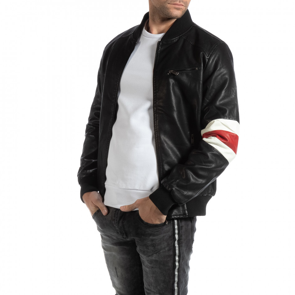 Fashionmix Ανδρικό μαύρο Bomber από συνθετικό δέρμα με διακοσμητικές  λεπτομέρειες 5f34851345f