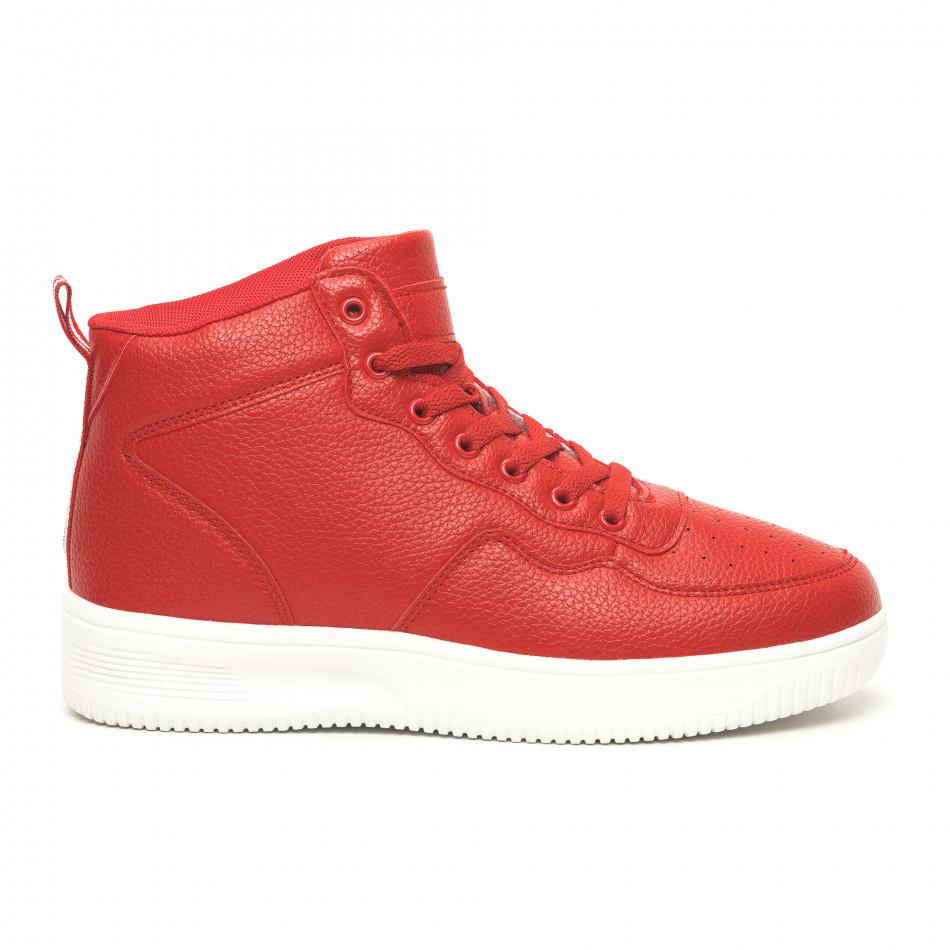 Ανδρικά ψηλά κόκκινα sneakers με Shagreen design
